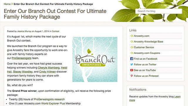 Ancestry.com: Branch Out Sweepstakes from Alliance Sweepstakes Agency