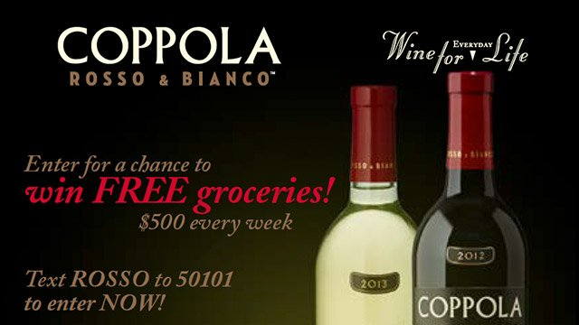 Francis Ford Coppola Winery: Free Groceries Sweepstakes