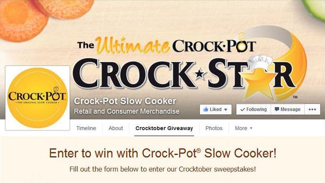 Sweepstakes management - Crock•Pot Cuisine: Entertain in Style Sweepstakes