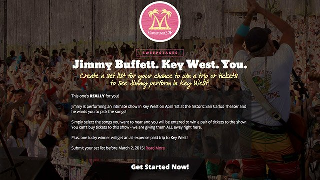 Margaritaville.tv: Jimmy Buffet Really for You Concert Sweepstakes Administration